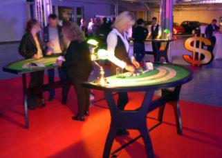 Animation casino inauguration locaux DistriCom croupiere